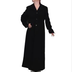 VTG 70s Long Maxi Length Black Wool Trench Coat L